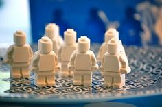 plaster of paris lego men - made with silicon mould.