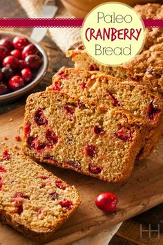 aleo Cranberry Bread #glutenfree #grainfree #treat #snack #cranberry #bread