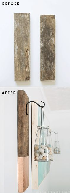 See how easy it is to create this vertical DIY Modern Rustic Wall Hanging from salvaged wood | MountainModernLife.com