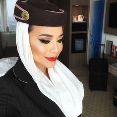 The trademark FLIGHT ATTENDANT red lipstick! For beauty inspiration visit www.dontsweathestewardess.com