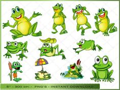 Cartoon Frog Clipart  Digital Clip Art of Cute by DigitalFileShop, $4.05