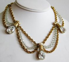 Vintage 60s Napier Gold Draped Rope Crystal Bead by SoCalJewelBox, $165.00