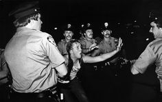 A scene during the 1969 Stonewall riots, as seen in Kate Davis and David Heilbroner's documentary Stonewall Uprising, a First Run Features Release.  Photo credit: Bettye Lane