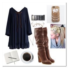 """""""café look"""" by emilyxcourtney ❤ liked on Polyvore featuring Chicwish, See by Chloé, H&M, FOSSIL and Retrò"""