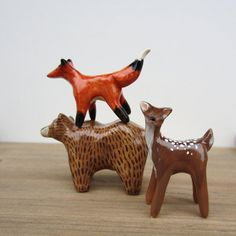 fox, Bear and dear 3 woodland critter figurines Woodland Critters, Woodland Creatures, Summer Art Projects, Clay Projects, Ceramic Animals, Clay Animals, Ceramic Figures, Pottery Sculpture, Paperclay
