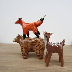 fox, Bear and dear 3 woodland critter figurines