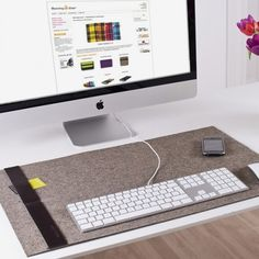 Stylish Desk Pad by Burning Love. The Desk-Pad classic is the perfect compliment for your iMac, simple, elegant and practical. Made from felt wool, it requires no additional mouse pad and is fitted with a leather strip down the side for holding busin Contemporary Desk Accessories, Home Office, Office Art, Desk Blotter, Burning Love, Desk Mat, Work Desk, Office Accessories, Diy Desk