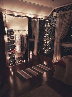 lights draped around closet doors:
