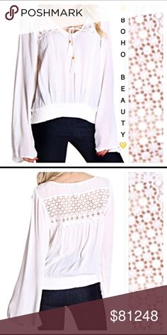 COMING SOON Simple Boho Beauty Peasant Top You will love the simple boho beauty of this white peasant blouse featuring a crochet panel in front & back, tassel tie, bell sleeves and elastic waist. Super soft rayon. Junior Sizes Small & Medium Derek Heart Tops Blouses