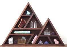 Wooden Triangle Shelf: multi-tier / The Mountain. Handcrafted Pacific Maple Mountain Alter carefully hand built by a set of Canadian hands in