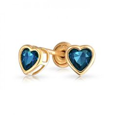 14K Heart Sapphire Color CZ Baby Stud Earrings Screwback Safety