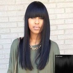 Fascinating Long Straight Full Bang Women s Human Hair Wig ($60) ❤ liked on Polyvore featuring beauty products, haircare and hair styling tools