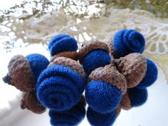 7 Blue Rosebud CASHMERE ACORNS upcycled by CustomWarmWoolies, $11.00