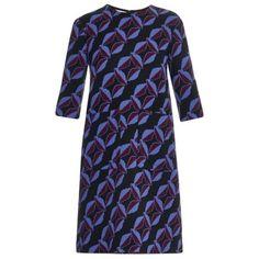 Marni Floral-print wool-cady dress ($1,720) ❤ liked on Polyvore featuring dresses, black print, blue dress, embellished slip dress, flower pattern dress, floral print dress and evening wear dresses