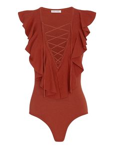 Ronny Kobo Luz Lace-Up Ruffle Bodysuit: Stretch knit bodysuit keeps your look streamlined. Lace-up neckline with ruffled trim beginning at shoulders. Snap buttons at seat. In rust. Fabric: 72% viscose/28% pbt Made in China.    Model Measurements: Height 5'10 1/2; Waist 24 ; Bust 31 wearing ...