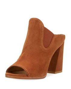 STUART WEITZMAN SLIDEUP SUEDE OPEN-TOE MULE, SADDLE. #stuartweitzman #shoes #sandals