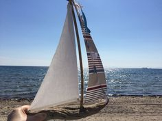 Sailboat driftwood home decor nautical boat by hippiefishbeachart