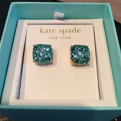 NWT Kate Spade Glitter Earrings. Turquoise color. Stud posts. kate spade Jewelry Earrings