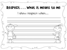 Respect ... What it means to me- goes with Everyone Matters book