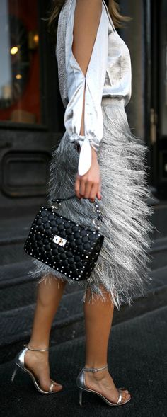 One shoulder metallic blouse, metallic fringed midi skirt, studded black leather shoulder bag, round sunglasses and silver ankle-strap sandals {Valentino, Rachel Zoe, Rebecca Minkoff, Sunday Somewhere, Sam Edelman, fall trends, fall winter trends 2017, fashion trends, classy dressing, statement dressing, fringe, metallic}