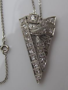 Platinum Diamond Art Deco Necklace