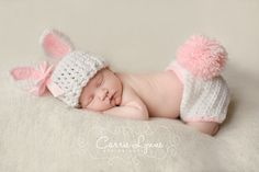 Newborn Bunny Hat, Bunny Diaper Cover Set,  Newborn Photo Prop, Newborn Easter, Infant Bunny Hat, Pink And White Hat, Crochet Bunny Hat on Etsy, $38.00