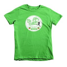 """Be Like Bikila"" - Short sleeve kids t-shirt dedicated to a marathon legend with the heart of a champion!"