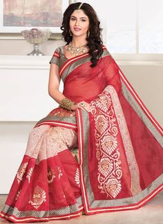 Off White N Red Supernet Saree