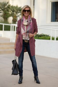 Our Mauve Boucle Cardigan Duster And A Holiday Sale Holiday Outfits Women, Fall Winter Outfits, Autumn Winter Fashion, Over 50 Womens Fashion, Fashion Over 40, Chic Outfits, Fashion Outfits, Mein Style, Scarf Styles