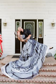 Black and White Wedding Dress from WeddingDressFantasy. This beautiful Gothic Couture Wedding Dress is made with Satin, Organza and Point