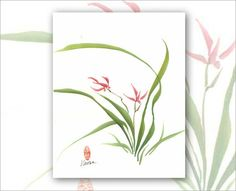 Watercolor Chinese Brush Painting 8 x 10 Print  Orchid 2 by Vartus, $25.00
