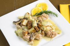 chicken with sweet sausage, roasted potatoes, mushrooms and artichokes in a lemon rosemary sauce// @A Culinary Journey with Chef Dennis