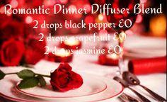 Romantic diffuser blend: 2 drops black pepper, 2 drops grapefruit, 2 drops jasmine