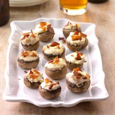 Appetizers & Small Plates: Bacon-Stuffed Mushrooms With variety, flavor and a touch of class, these great Christmas buffet ideas will get you through your holiday party in style. Thanksgiving Side Dishes, Thanksgiving Recipes, Holiday Recipes, Thanksgiving Feast, Holiday Foods, Holiday Ideas, Bacon Stuffed Mushrooms, Stuffed Mushroom Caps, Potluck Recipes