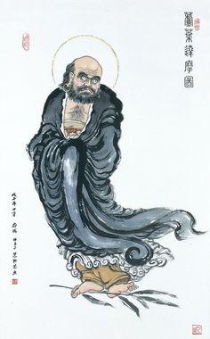 菩提達摩 Bodhidharma crossing the Yangzi on a reed - Chinese painting