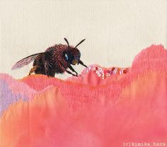 Beautiful neon embroidery works by Kimika Hara Hand Embroidery Art, Embroidery Works, Japanese Embroidery, Cross Stitch Embroidery, Fabric Painting, Fabric Art, Contemporary Embroidery, Bee Art, Lesage