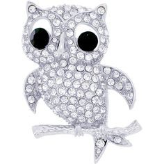 Silver Crystal Owl Bird Pin Brooch
