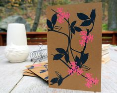 Pink Berry Silk Screened Note Card Set