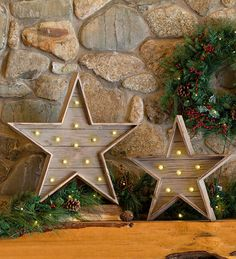 Wooden Stars with LED Lights, Set of 2 $159.95