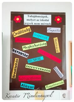 Osztálydekoráció -Motívációs tábla Classroom Decor, Diy Room Decor, School, Decoration, Food, Decor, Essen, Decorations, Meals