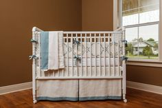 2-Piece Picket Linen Baby Bedding Set, Seaspray color READY to LOVE
