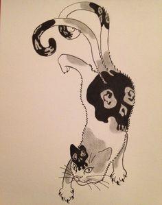 Nekomata by emynekomimi | Always love Horitomo's monmon cats. So I try to draw one with his style.