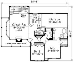 First Floor Plan of Country   House Plan 87381