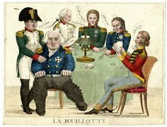 La Bouillotte A hand-colored satirical etching on the Congress of Vienna with five monarchs playing cards for the countries of Europe while Napoleon interrupts their game. 1815. Image: British Museum.