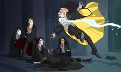 The Potterlock Crew by cinnamagen. // Not sure what's going on here, but let's just presume John's NOT getting avada kedavera'd shall we.