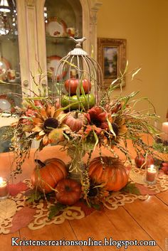 DIY Fall Centerpiece IdeasFall is one our favorite times of the year. Fall Arrangements, Autumn Decorating, Decorating Ideas, Fall Home Decor, Fall Wreaths, Fall Harvest, Harvest Time, Thanksgiving Decorations, Thanksgiving Ideas