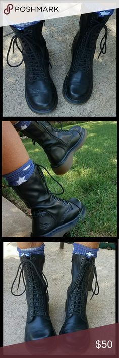 Dr. Martens Black Lace Up Boots Dr Martens 14 eyelet lace up  boots w/ air wave  sole, in side zipper. Really soft black leather. Vintage chunky toe and sole. Very little signs of wear. Great condition . Size UK4, US6. Dr. Martens Shoes Lace Up Boots