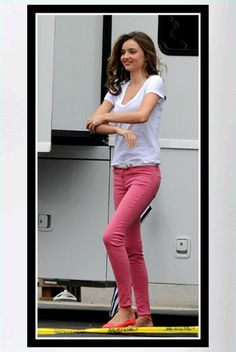 Buy it: Miranda Kerr's Pink Skinny Jeans and Pink Patent Leather Ankle Strap Ballet Flats