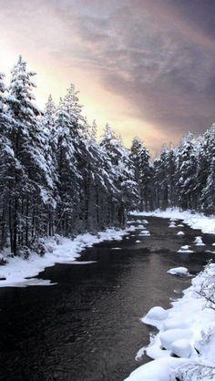 River in winter, Finland