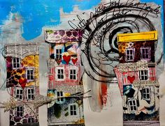 Visual journaling, mixed media art, and artsy scrapbooking. Spiral Art, Creative Activities For Kids, Architecture Collage, Collage Art Mixed Media, Building Art, Modern Artists, Art Club, Art Journals, Quilting Designs